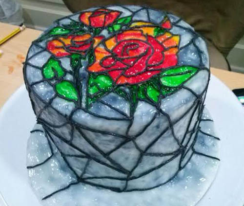learn to make stain glass edible cakes